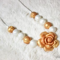 Silicon teething necklace-Glorious-Golden